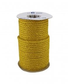 Jute rope in yellow color, diameter 6 mm, 25 meters