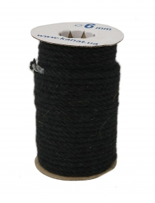 Jute rope in black color, pure jute yarn, diameter 6mm, 25 meters in coil