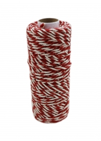 Jute+cotton cord, red-white color, 50 meters