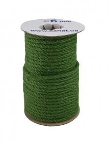 Канат джутовий зелений, діаметр 6мм