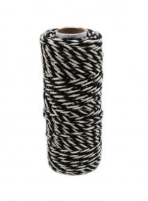 Шнур джут-бавовна чорно-білий, 50 метрів
