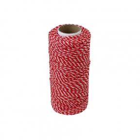 Шнурок поліпропіленовий кручений біло-червоний, 80 метрів