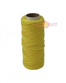 Шпагат бавовняний кольоровий - жовтий, 45 метрів