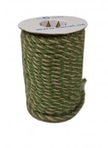 Jute rope natural-green, diameter 6mm, step of color 1+1+1+1, 25 meters