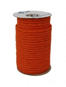 Jute rope in orange color, diameter  6mm, coil 25 meters