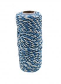 Jute+cotton cord, blue-white color, 50 meters