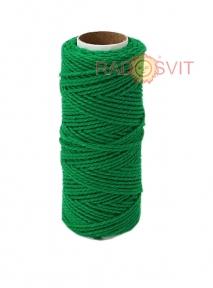 Шпагат бавовняний кольоровий - темно-зелений, 45 метрів
