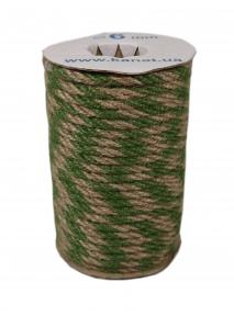 Jute rope natural-green, diameter 6mm, step of color 2+2, 25 meters