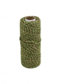 Шнур джутовий кручений натуральний-зелений, 50 метрів