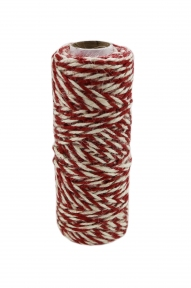 Jute cord white-red, 50 meters